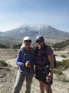 Stacia and Me, at the top of our climb on Mt. St. Helens. That's the caldera in the background.